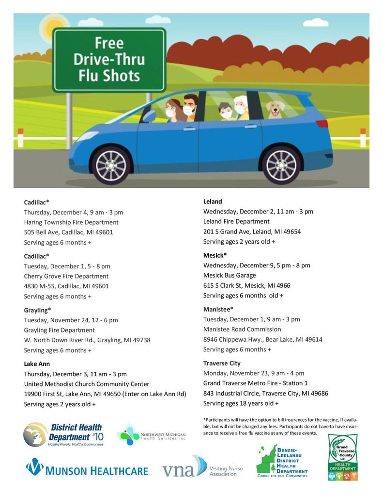 Drive thru flu shot flier