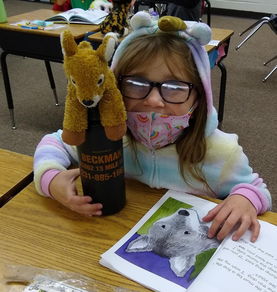 Having fun reading to our stuffed animal friends!