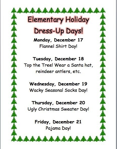 Holiday Dress up days
