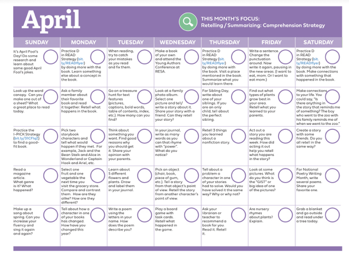 April's Reading Related Activity's Calendar