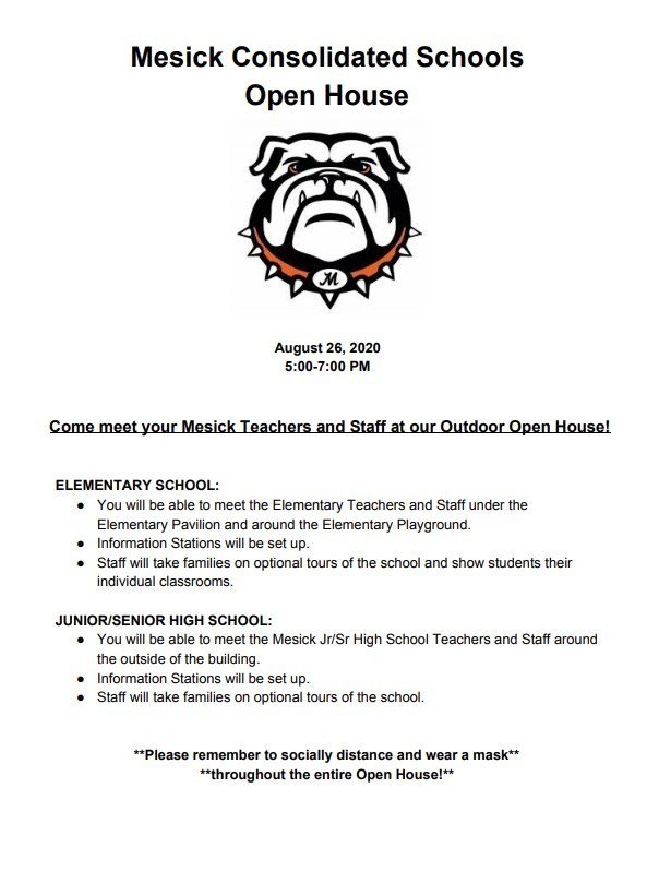 2020-2021 Open  House Information